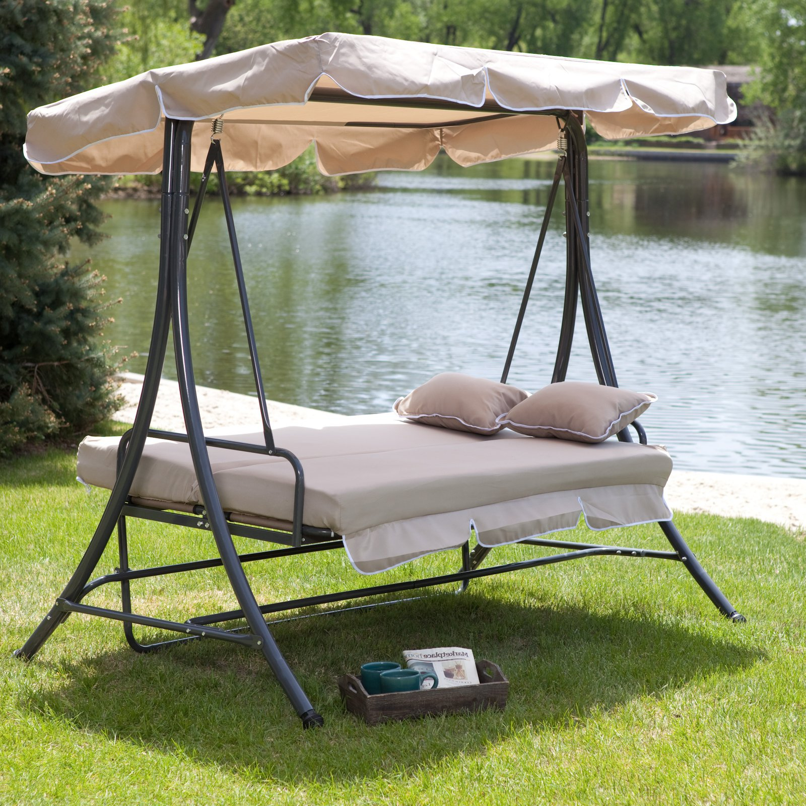 Favorite 3 Person Outdoor Porch Swings With Stand With Coral Coast Lazy Caye 3 Person All Weather Swing Bed With Toss Pillows – Cappuccino – Walmart (View 9 of 30)