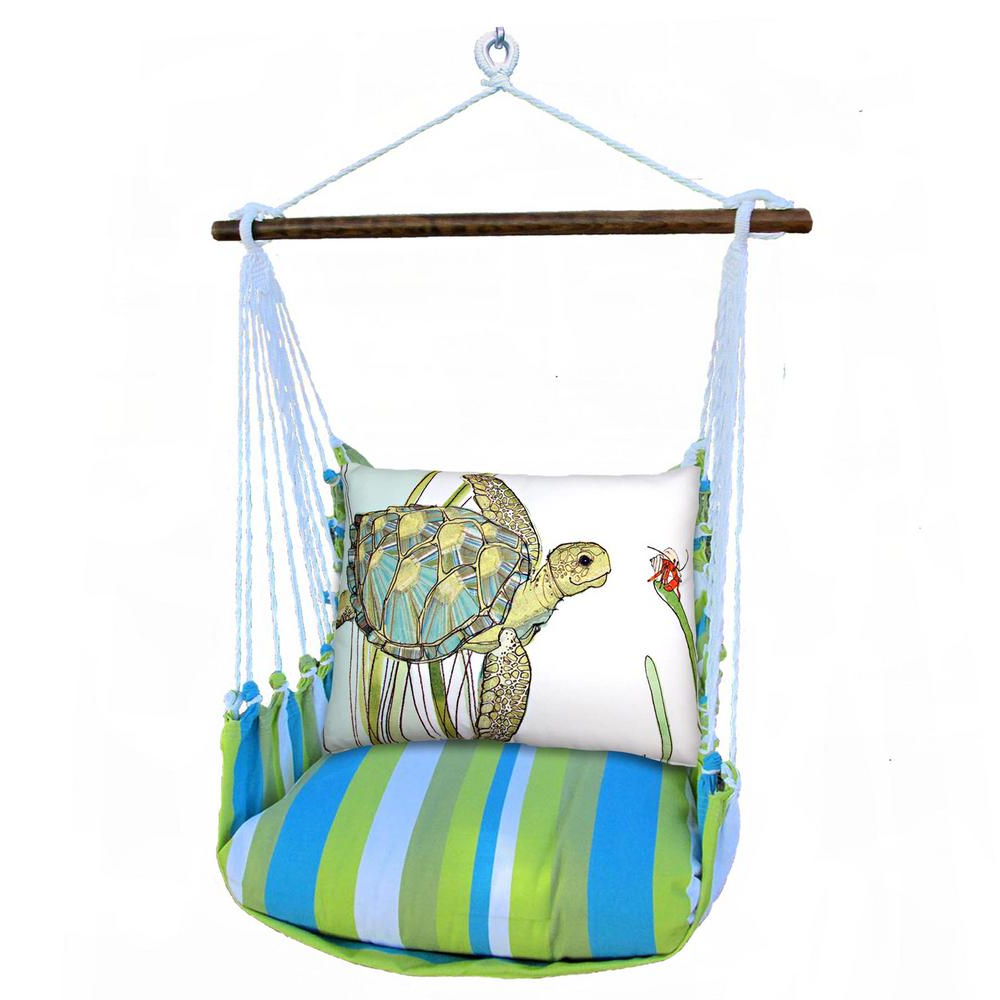 Favorite 3 Piece Wood Polyester Cushioned Porch Swing With Turtle Print Back Pillow Throughout Cotton Porch Swings (Gallery 16 of 30)