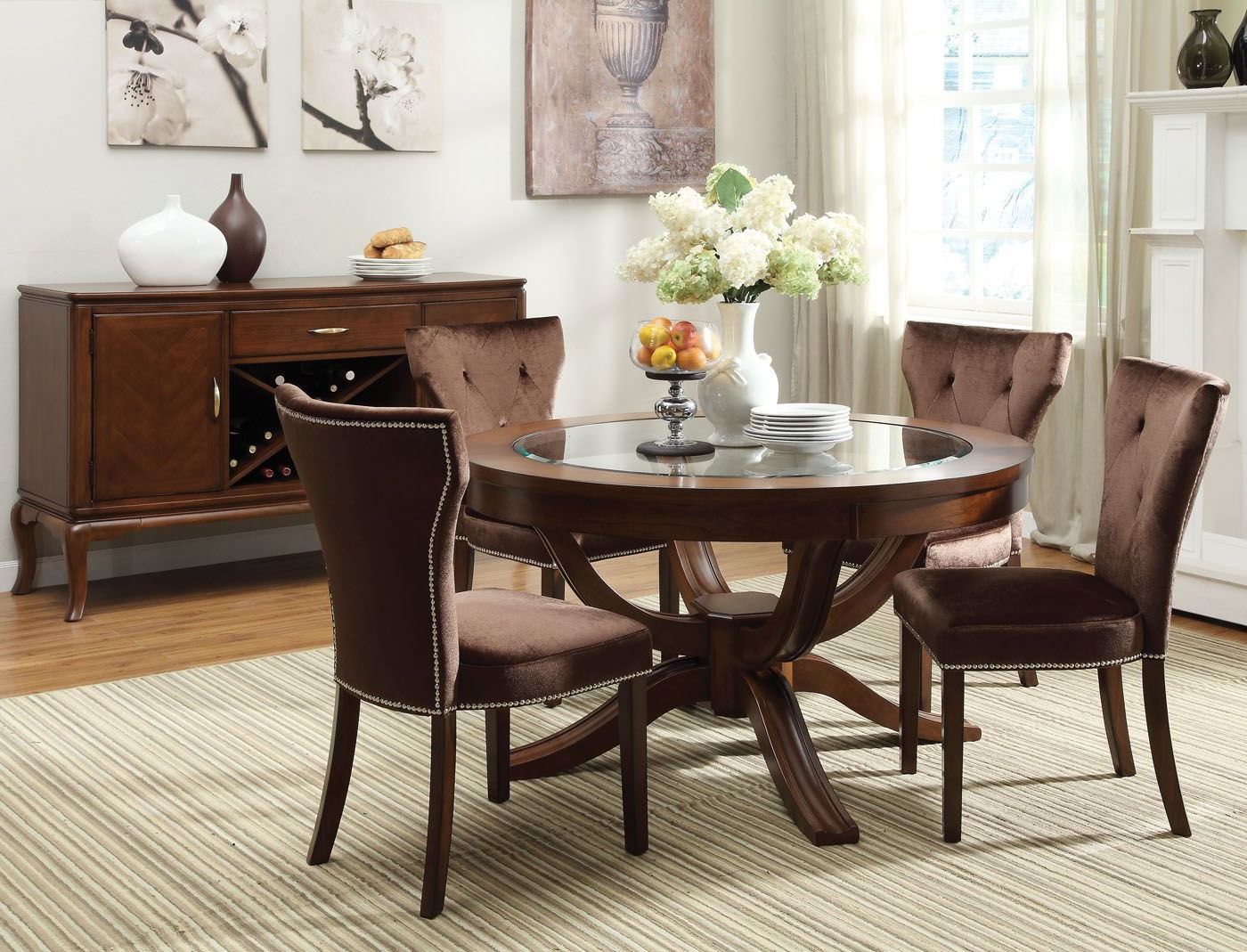Favorite Acme Kingston 5 Pc Glass Top Round Pedestal Dining Table Set Inside Round Dining Tables With Glass Top (Gallery 29 of 30)