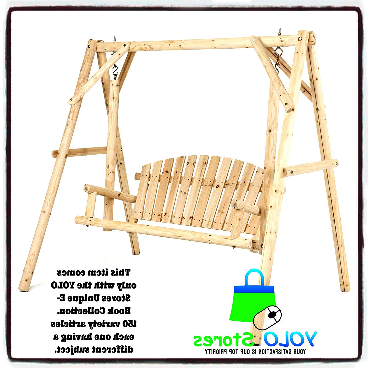 Favorite Amazon : Yolo Stores Porch Swing Patio Bench Wooden Regarding Rosean Porch Swings (View 17 of 30)