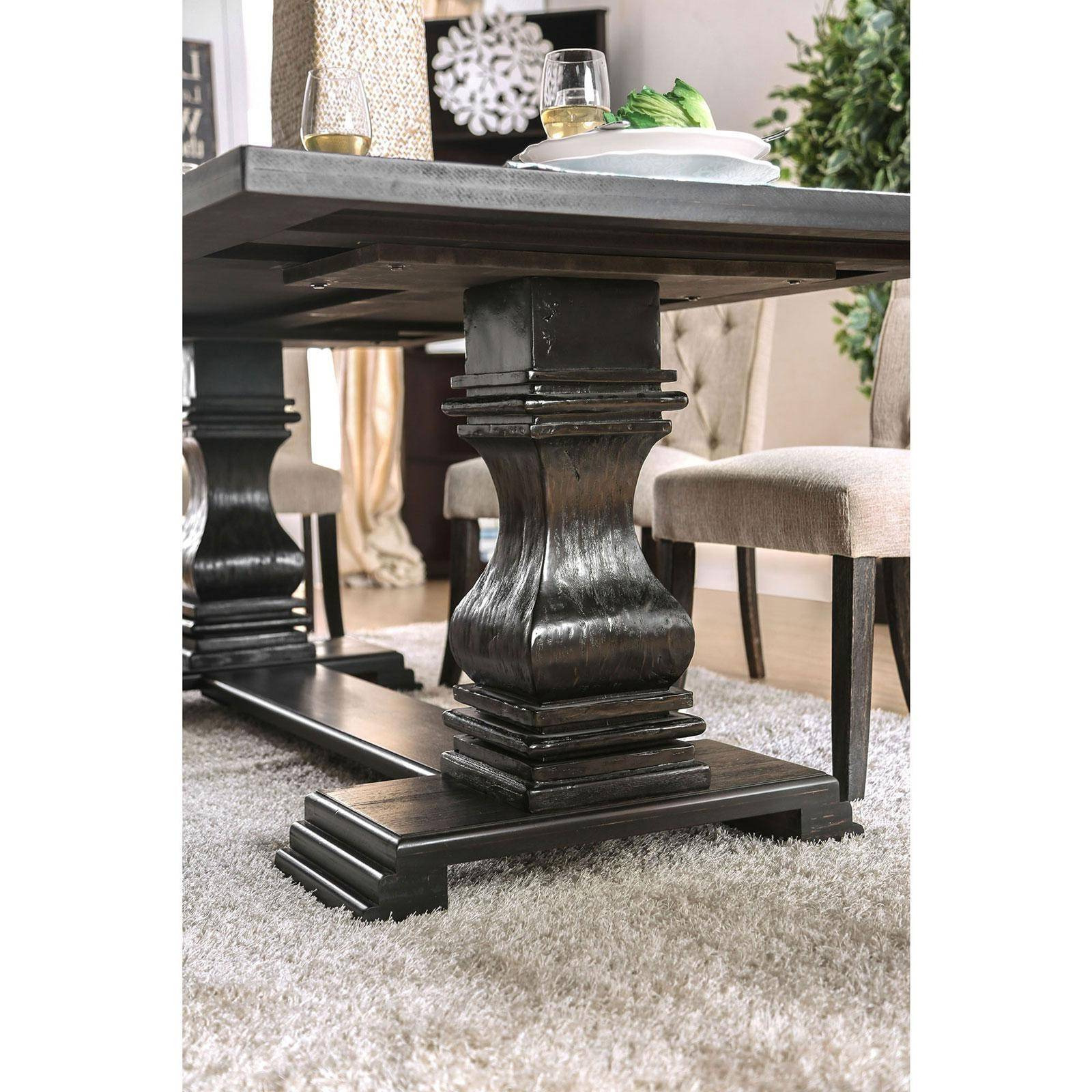 Favorite Antique Black Wood Kitchen Dining Tables Regarding Rustic Antique Black Dining Table Nerissafurniture Of (View 29 of 30)