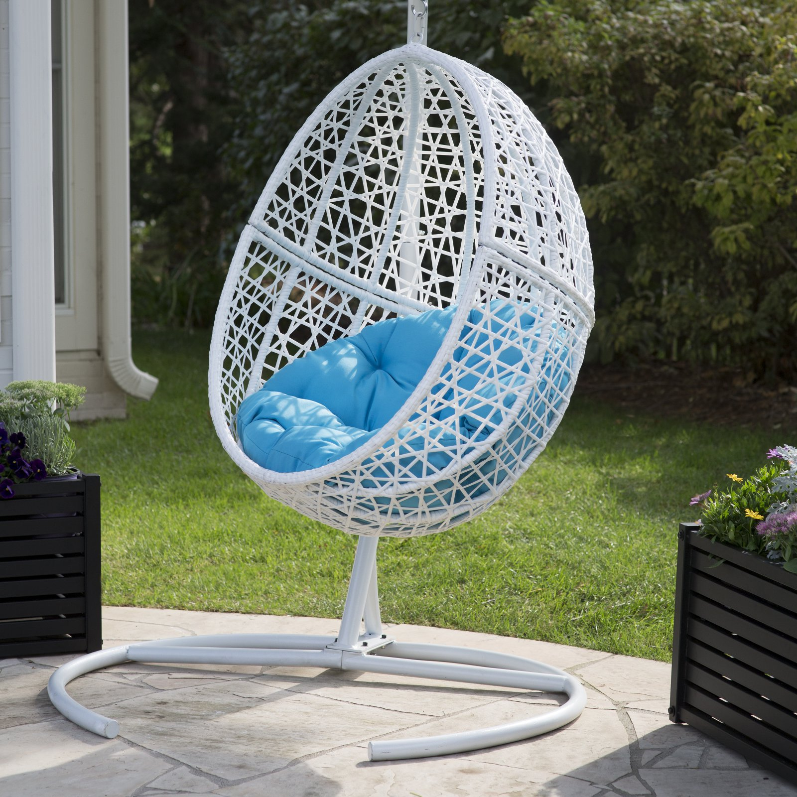 Favorite Belham Living Resin Wicker Blanca Hanging Egg Chair With Regarding Outdoor Wicker Plastic Tear Porch Swings With Stand (Gallery 17 of 30)