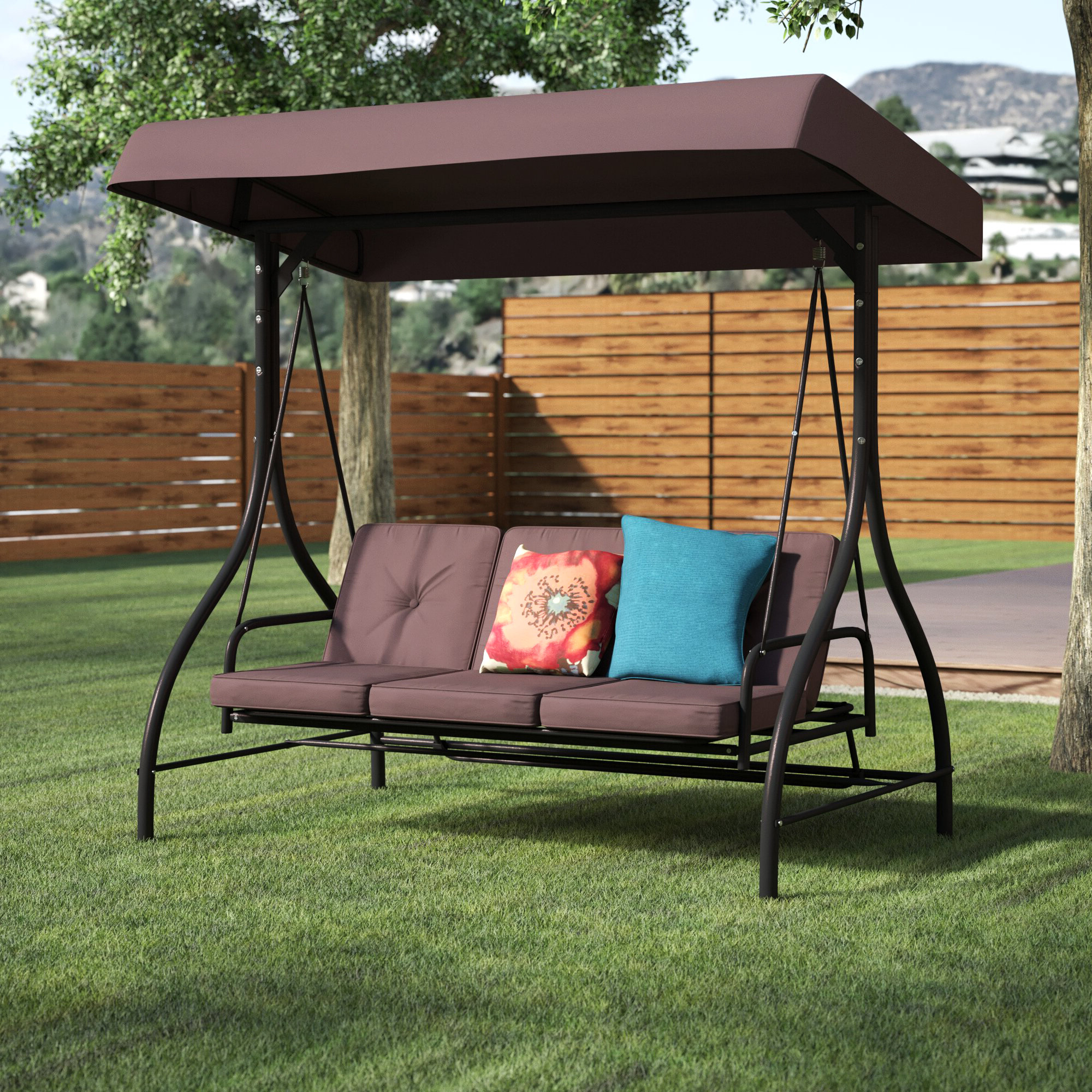 Favorite Canopy Patio Porch Swing With Stand In Lasalle Canopy Patio Porch Swing With Stand (View 3 of 30)
