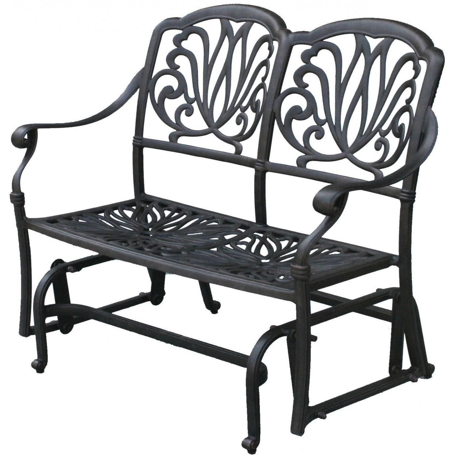 Favorite Darlee Elisabeth 2 Piece Cast Aluminum Patio Bench Glider Throughout Metal Powder Coat Double Seat Glider Benches (View 8 of 30)