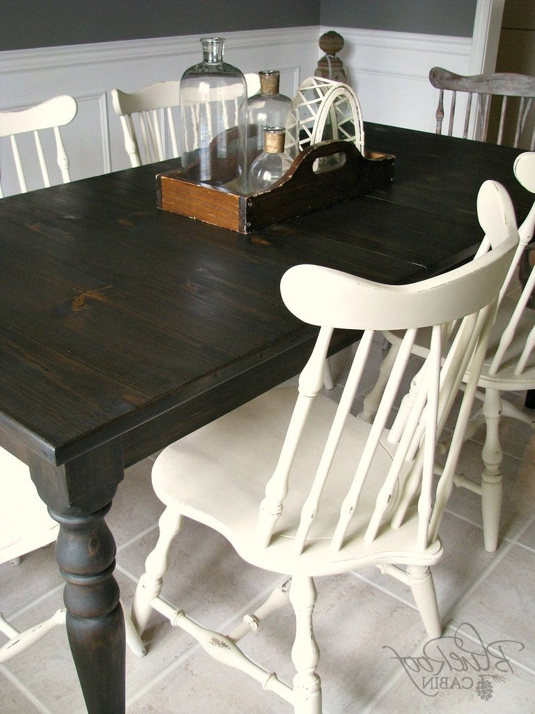 Favorite Distressed Walnut And Black Finish Wood Modern Country Dining Tables Intended For I Finished Up The Custom Farm Table I've Been Working On For (Gallery 17 of 30)