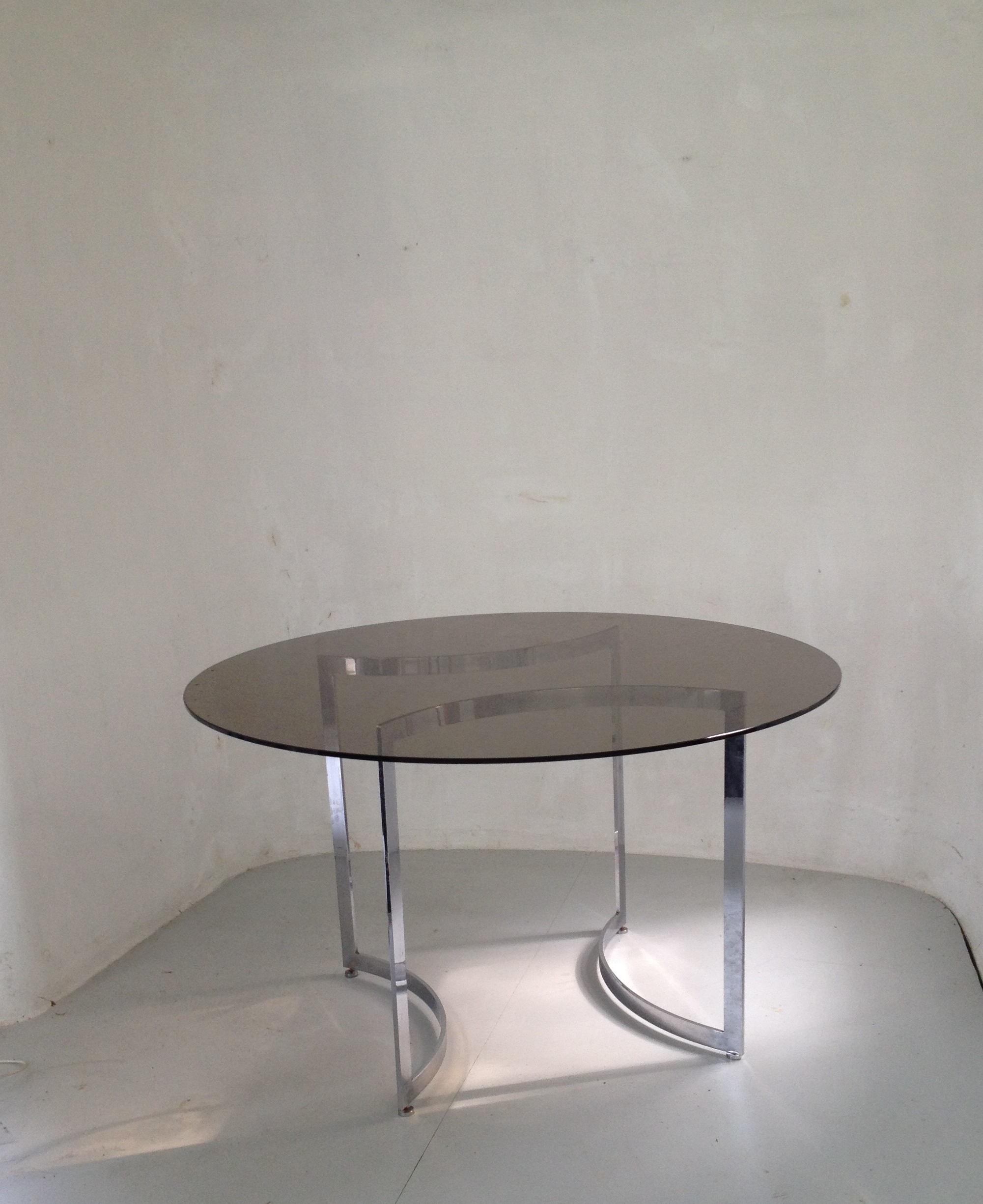 Favorite Dom Round Dining Table In Hardened Glass And Steel, Paul Legeard – 1970S Regarding Dom Round Dining Tables (Gallery 23 of 30)