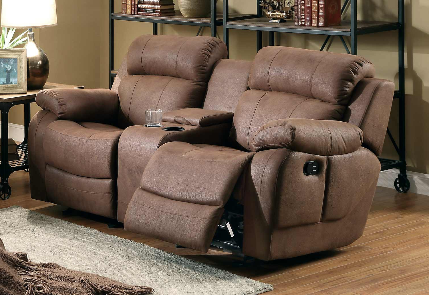 Favorite Double Glider Loveseats Inside Marille Dark Brown Fabric Double Glider Reclining Loveseat W (View 6 of 30)