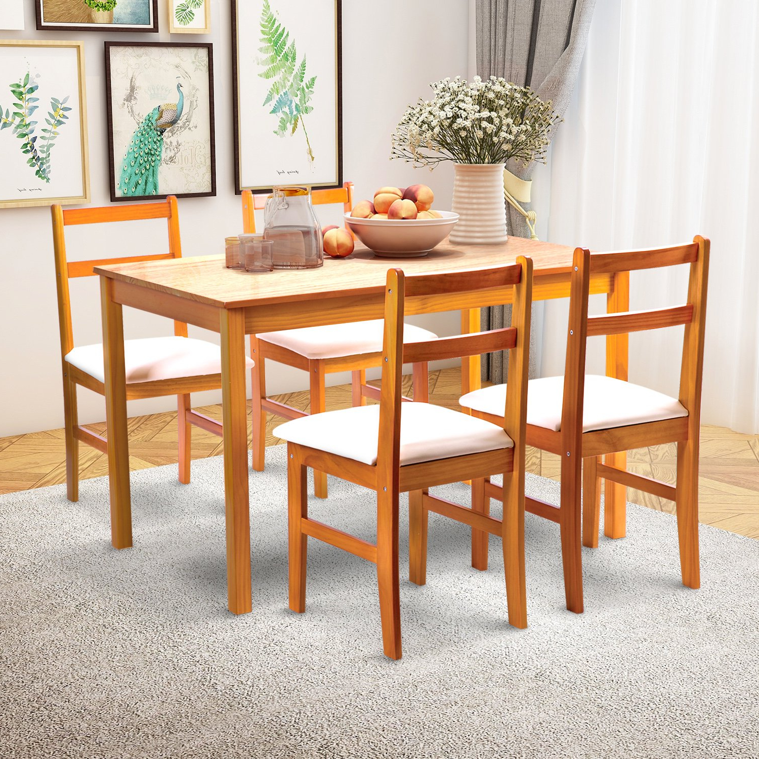 Favorite Furniture Giantex Modern Dining Table Mid Century Home Throughout Mid Century Rectangular Top Dining Tables With Wood Legs (View 16 of 30)