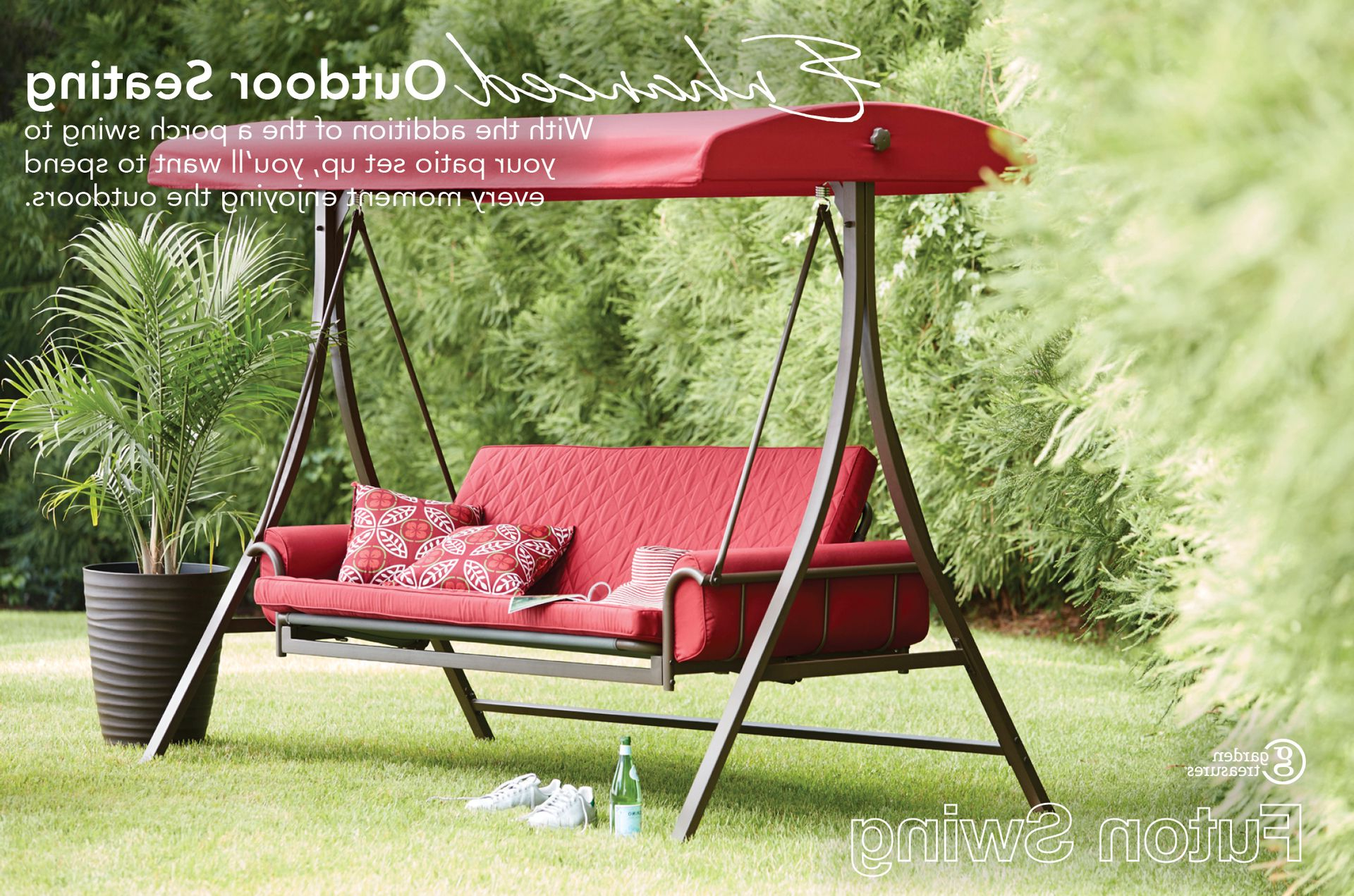 Favorite Garden Treasures 3 Person Red With Brown Powder Coated Frame With Outdoor Swing Glider Chairs With Powder Coated Steel Frame (View 25 of 30)
