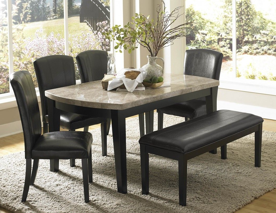 Favorite Impressive Black Dining Set Ideas Black Leather Dining Chair Regarding Dining Tables With White Marble Top (View 6 of 30)