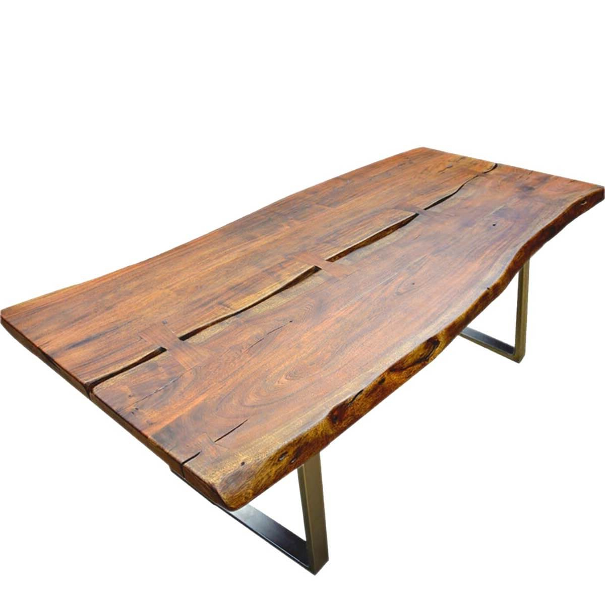 Favorite Live Edge Acacia Wood & Iron Rustic Large Dining Table Pertaining To Solid Acacia Wood Dining Tables (View 13 of 30)
