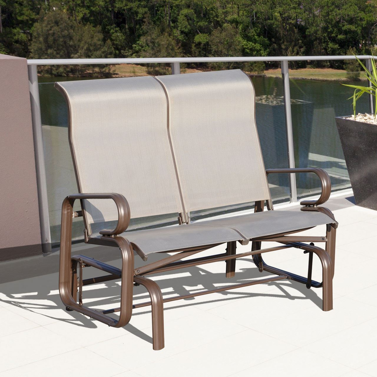 Favorite Outdoor Aluminum Double Glider Rocking Bench Swing With Aluminum Outdoor Double Glider Benches (View 8 of 30)