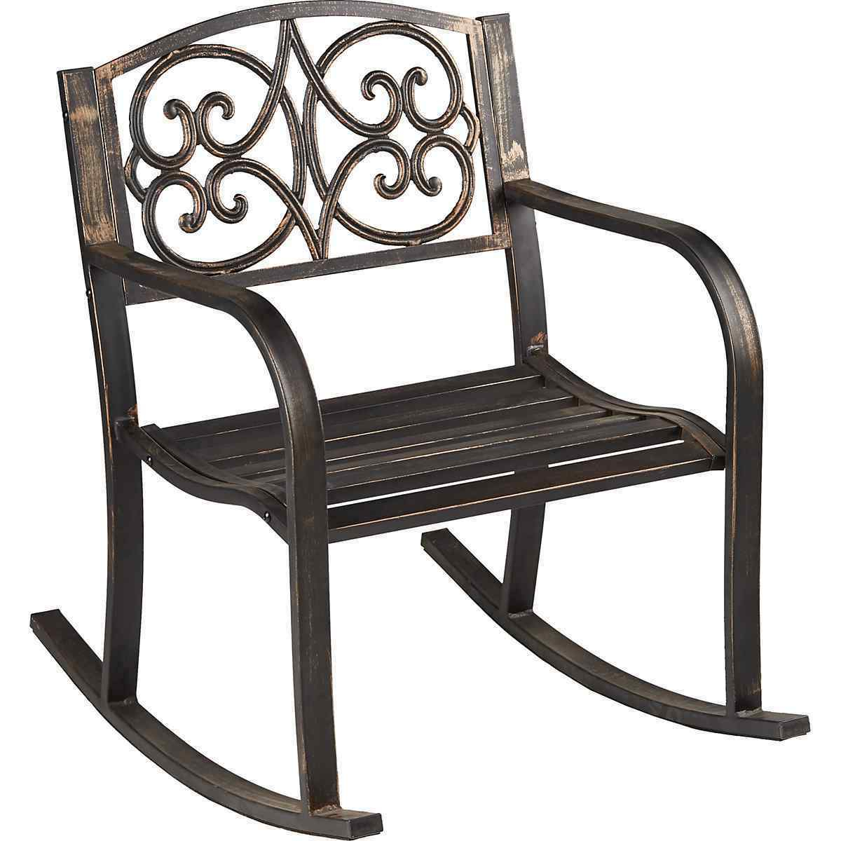 Favorite Outdoor Rocking Chair Patio Metal Rocker Porch Garden Furniture Deck Yard Seat Regarding 1 Person Antique Black Steel Outdoor Gliders (View 22 of 30)