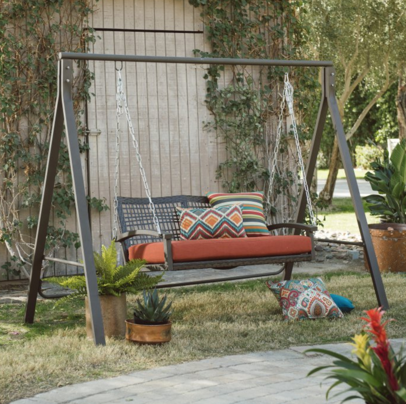 """Favorite Patio Metal Swing Stand A Frame Steel For 4"""" 5"""" Swings Lawn Inside Patio Porch Swings With Stand (Gallery 3 of 30)"""
