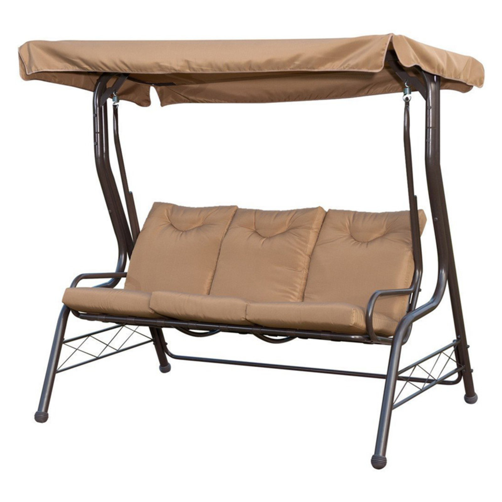 Favorite Patiopost 3 Seat Padded Porch Swing With Frame And Canopy Throughout 3 Seats Patio Canopy Swing Gliders Hammock Cushioned Steel Frame (View 17 of 30)