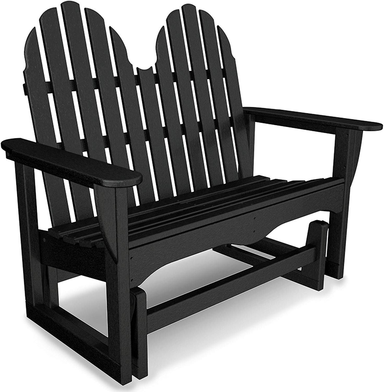 Favorite Polywood Adirondack 48 Inch Glider, Black Intended For Classic Adirondack Glider Benches (Gallery 3 of 30)