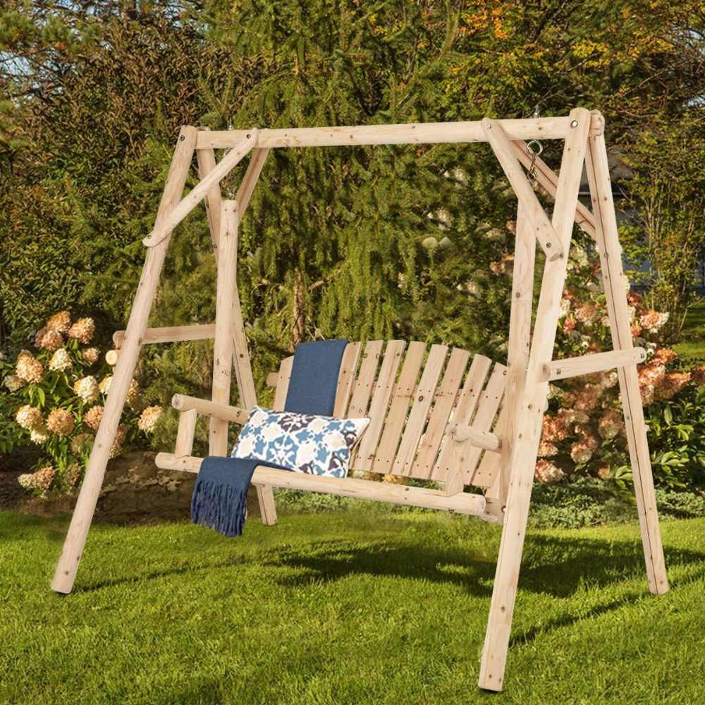Favorite Rosean Porch Swings Pertaining To Giantex Rustic Wooden Porch Swing Bench W/a Frame Stand Set (View 10 of 30)