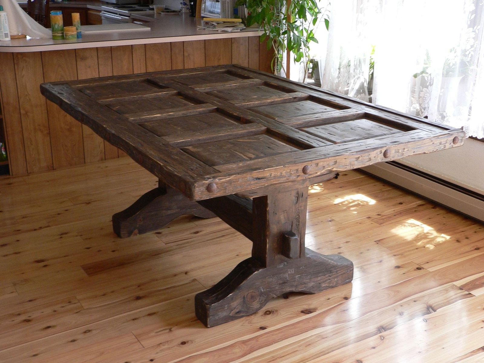 Favorite Rustic Pine Small Dining Tables Pertaining To Custom Southwest Distressed Dining Room Table, With Glass (Gallery 4 of 30)