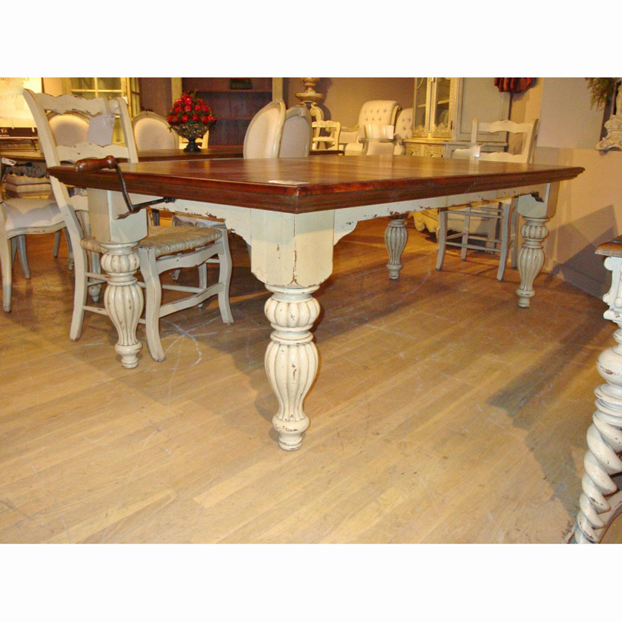 Favorite Sophia Farmhouse Distressed Parchment Dining Table (Gallery 14 of 30)