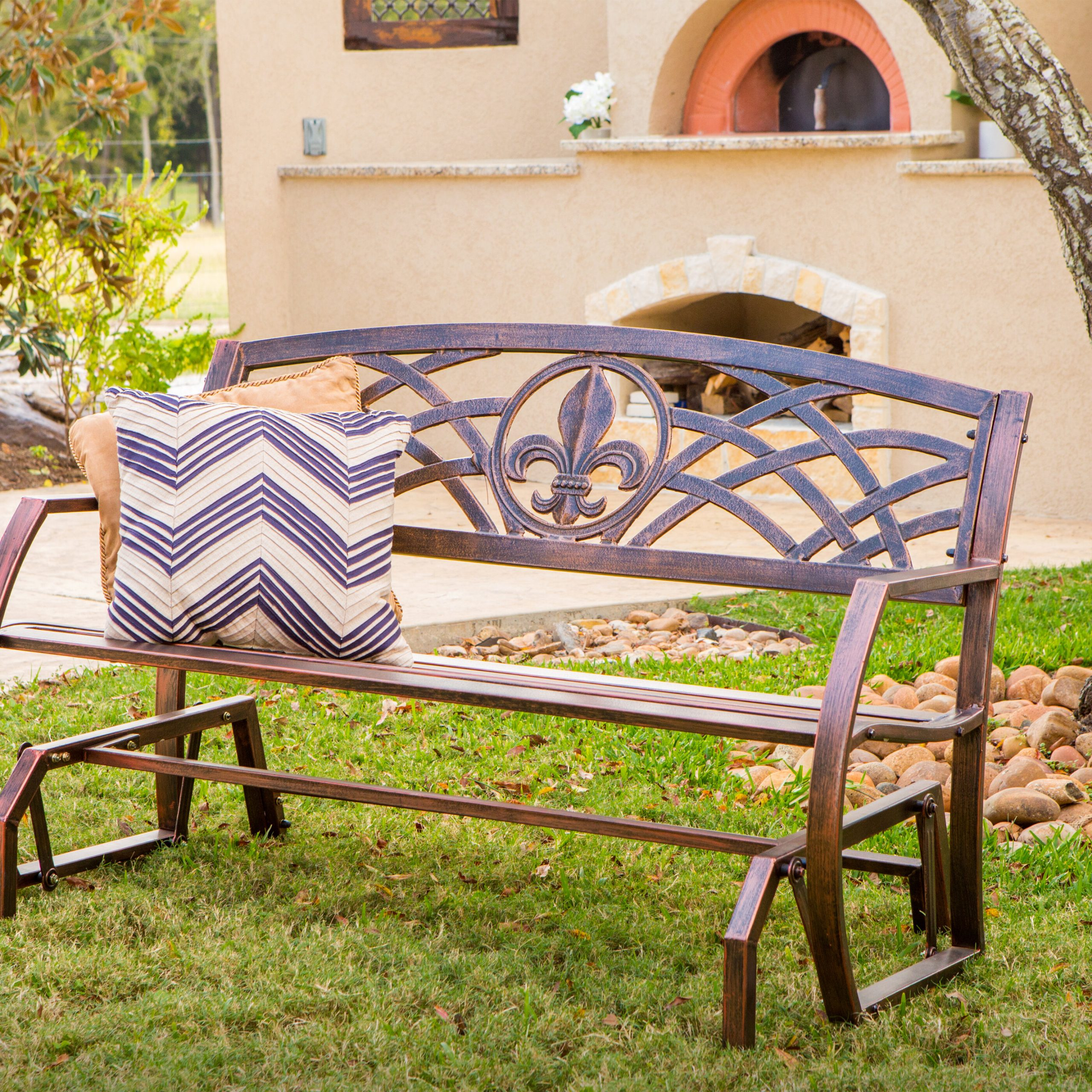 Favorite Speckled Glider Benches Intended For Trumann Fleur De Lis Glider Bench (View 16 of 30)