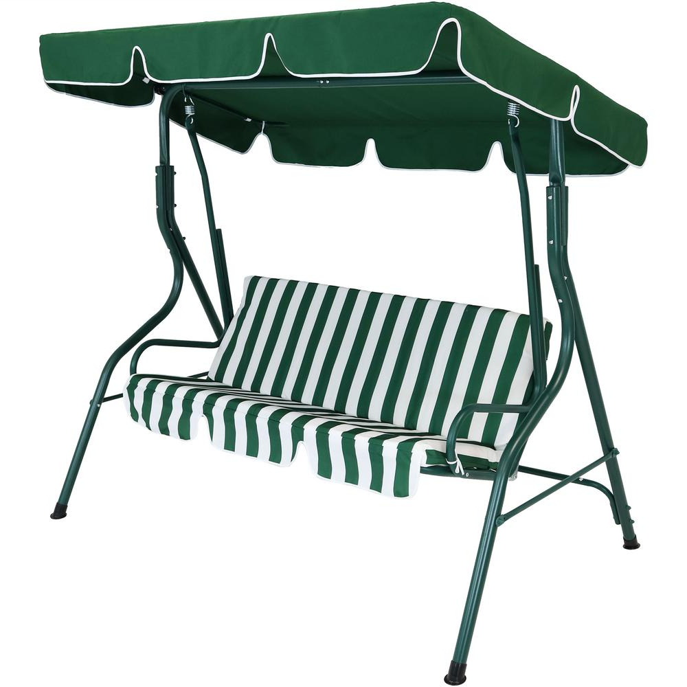 Favorite Sunnydaze Decor 3 Person Green Steel Porch Swing With Green Inside Outdoor Pvc Coated Polyester Porch Swings With Stand (View 9 of 30)