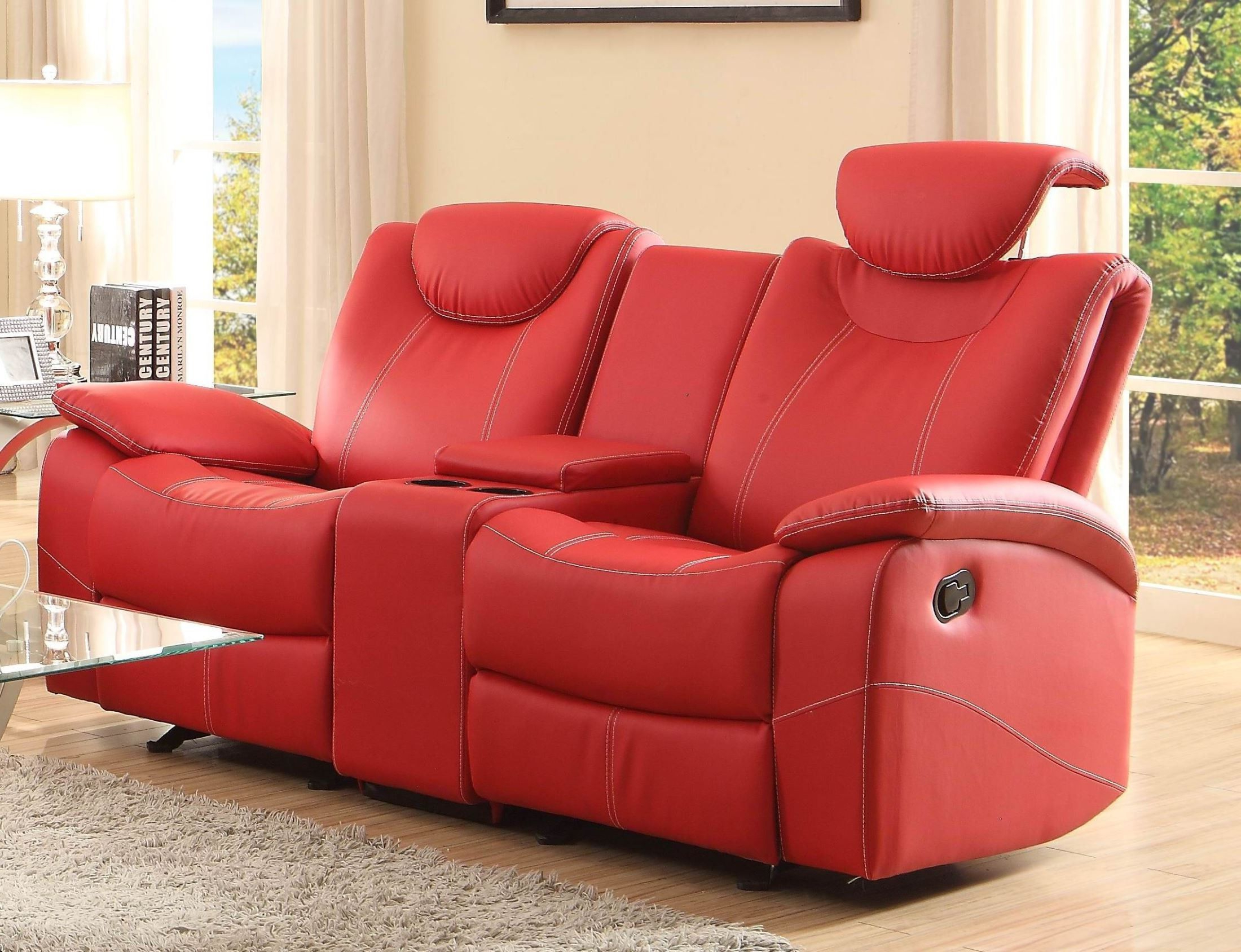 Favorite Talbot Red Double Glider Reclining Loveseat With Console Throughout Double Glider Loveseats (View 12 of 30)