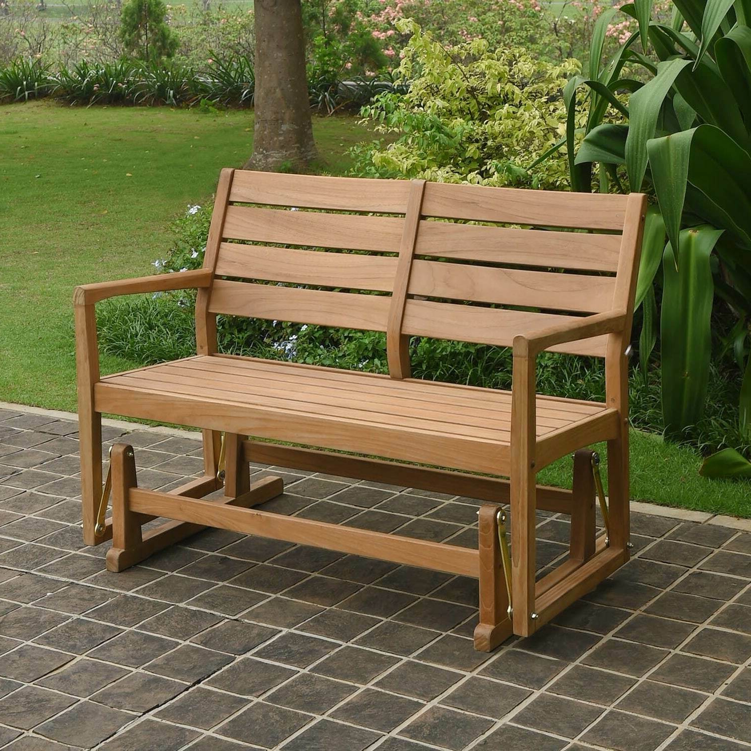 Favorite Teak Outdoor Glider Benches Intended For Cambridge Casual Andrea Teak Glider Bench Tan Single (View 17 of 30)