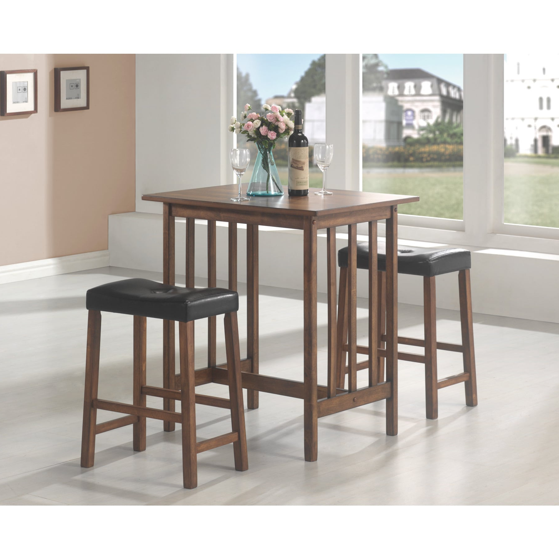 Favorite Transitional Antique Walnut Square Casual Dining Tables Intended For Coaster Company 3 Piece Table Set, Nut Brown – Walmart (Gallery 29 of 30)