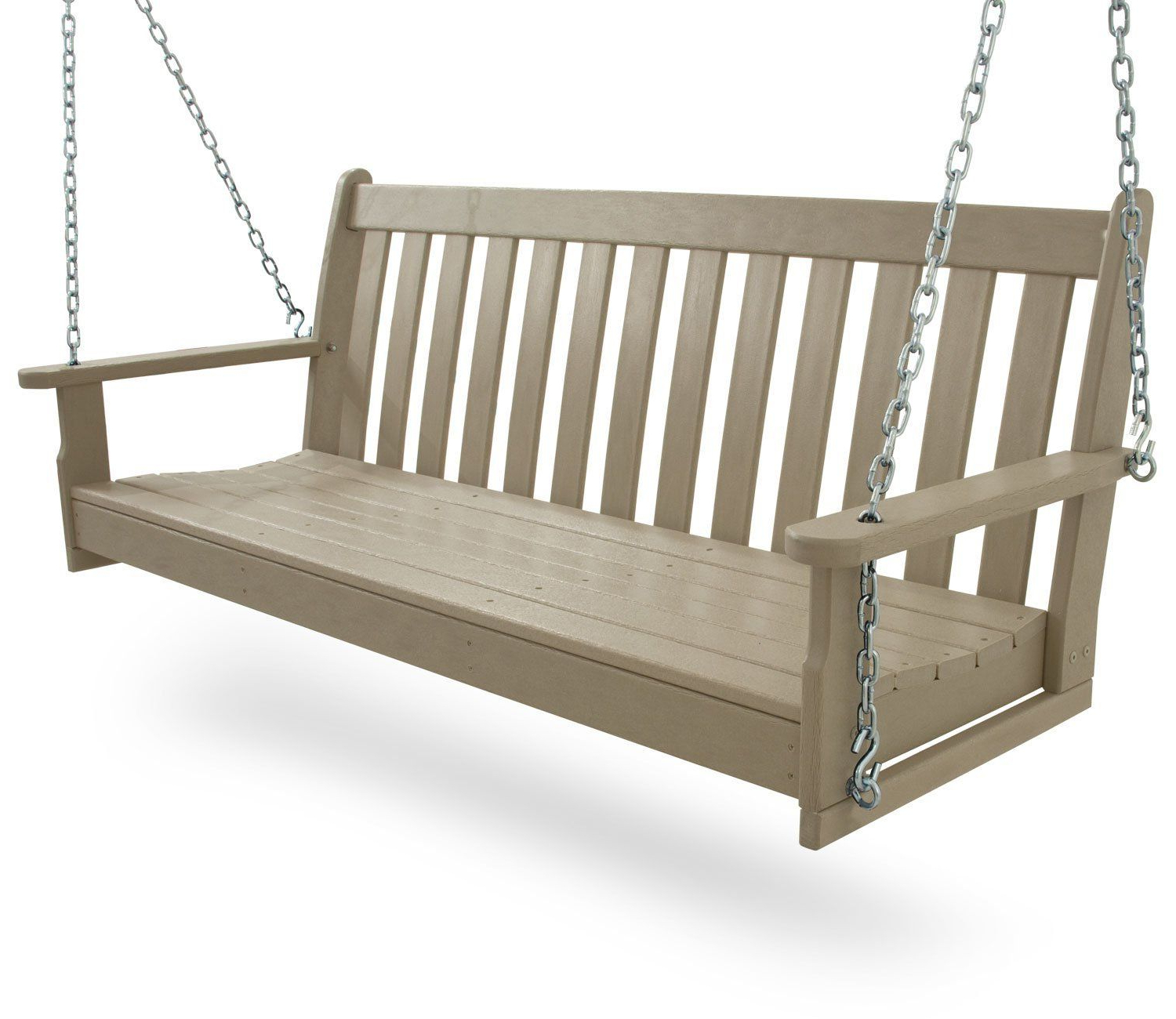 "Favorite Vineyard Porch Swings Within Amazon : Polywood Gns60wh Vineyard 60"" Swing, White (View 6 of 30)"