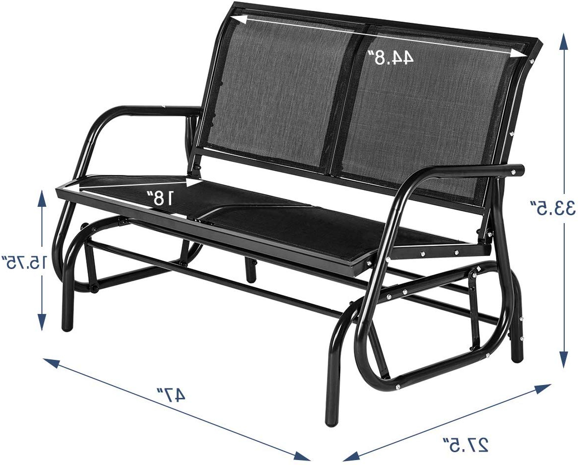 Favorite Yoleny Outdoor Swing Glider Chair With Powder Coated Steel Frame, Garden Rocking Seating, Patio Bench For 2 Person With Regard To 2 Person Gray Steel Outdoor Swings (Gallery 13 of 30)