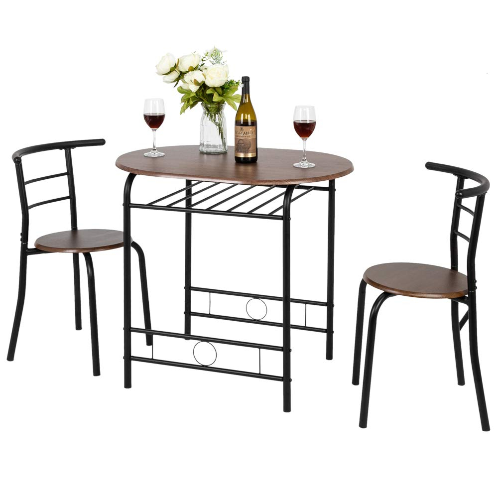 Fch 3 Piece Dining Set Dining Table With 2 Chairs Breakfast Bistro Pub  Table And 2 Chairs (Brown) Within Newest 3 Pieces Dining Tables And Chair Set (Gallery 18 of 30)
