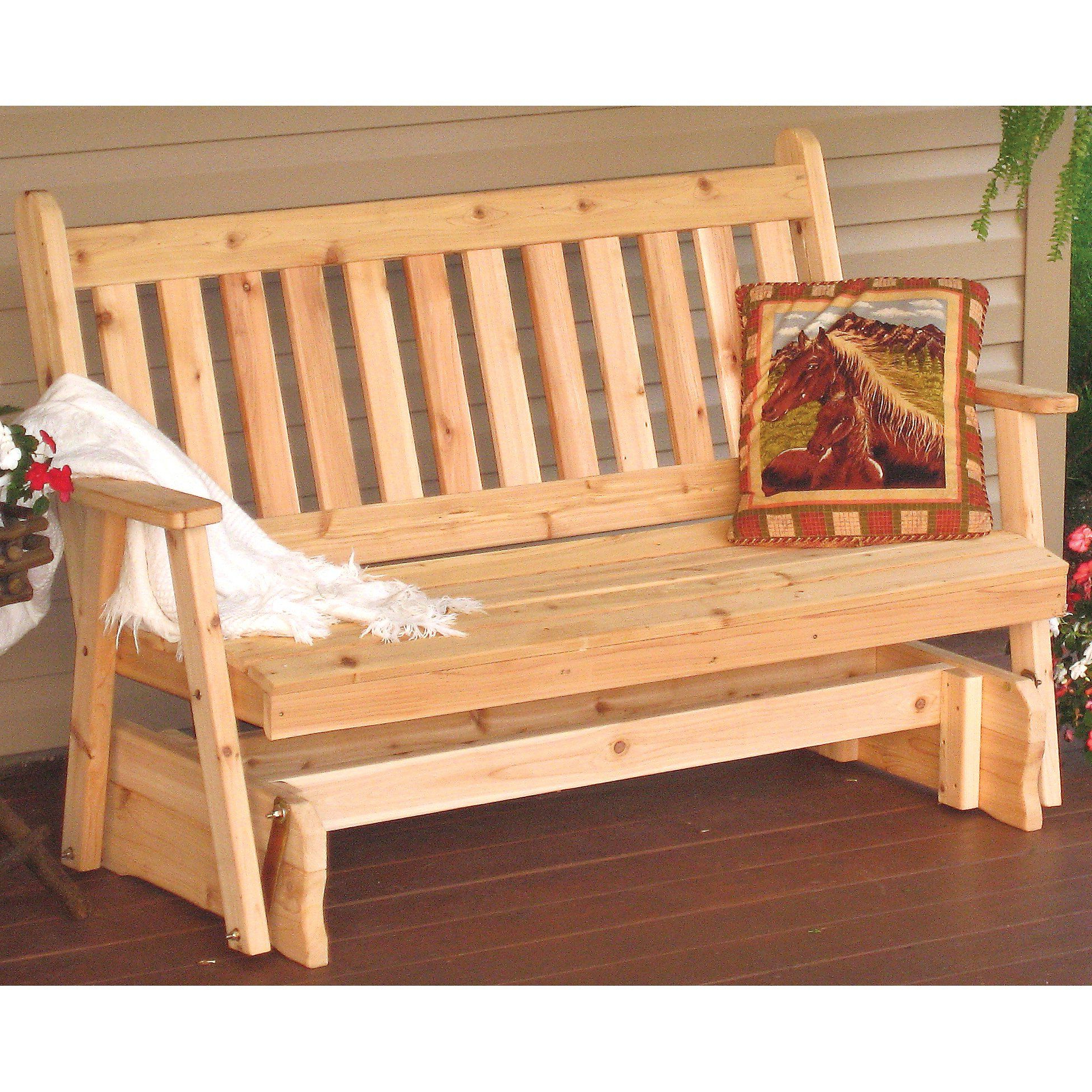 Features:  This Glider Will Dress Up Any Porch Or Patio With Most Current 2 Person Natural Cedar Wood Outdoor Gliders (Gallery 15 of 30)