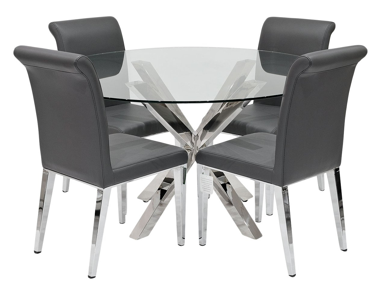 Febland Crossly Table With 4 Dark Grey Kirkland Dining Within Favorite Eames Style Dining Tables With Chromed Leg And Tempered Glass Top (View 13 of 30)