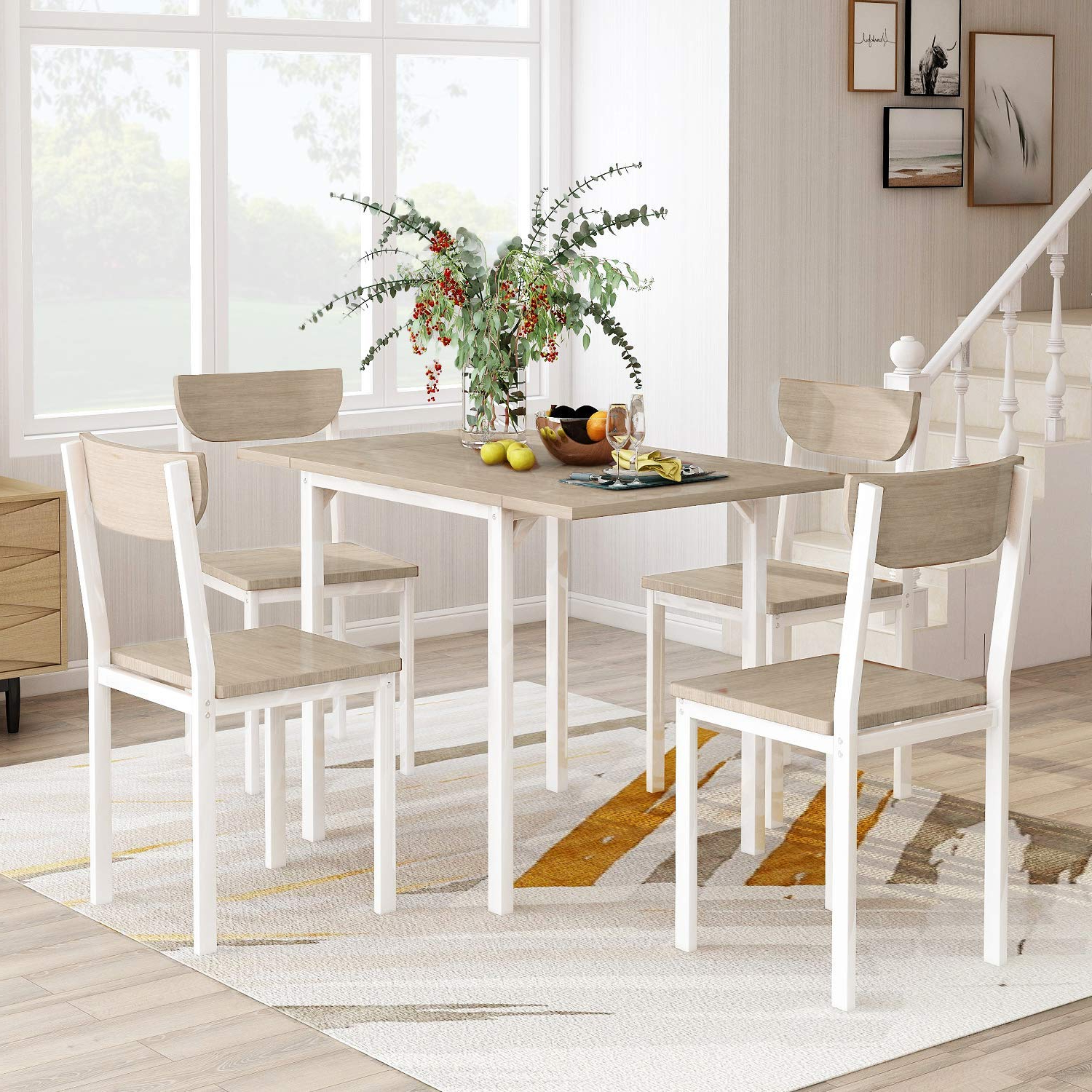 Flieks 5 Piece Modern Dining Table Set With A Drop Leaf Dining Table And 4 Chairs Home Kitchen Furniture Dinette Set (light Grey/white) With Famous Modern Dining Tables (View 5 of 30)