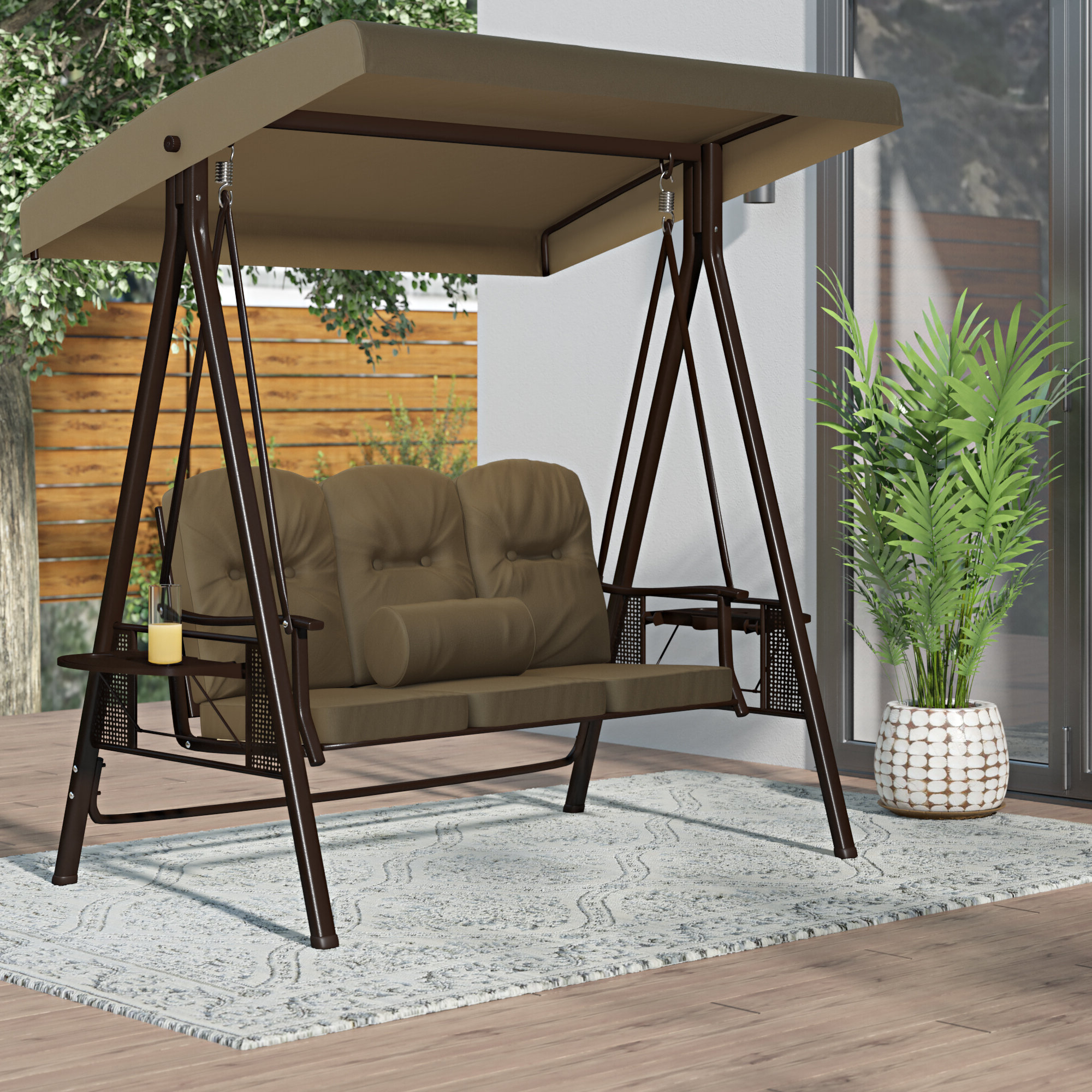 Folkston Outdoor Canopy Porch Swing With Stand Within Latest Porch Swings With Stand (View 29 of 30)