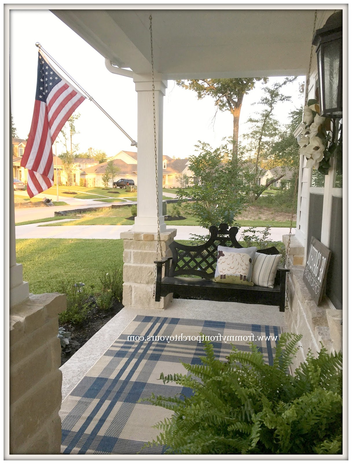 From My Front Porch To Yours: Farmhouse Front Porch Updates With Regard To Famous American Flag Porch Swings (View 17 of 30)