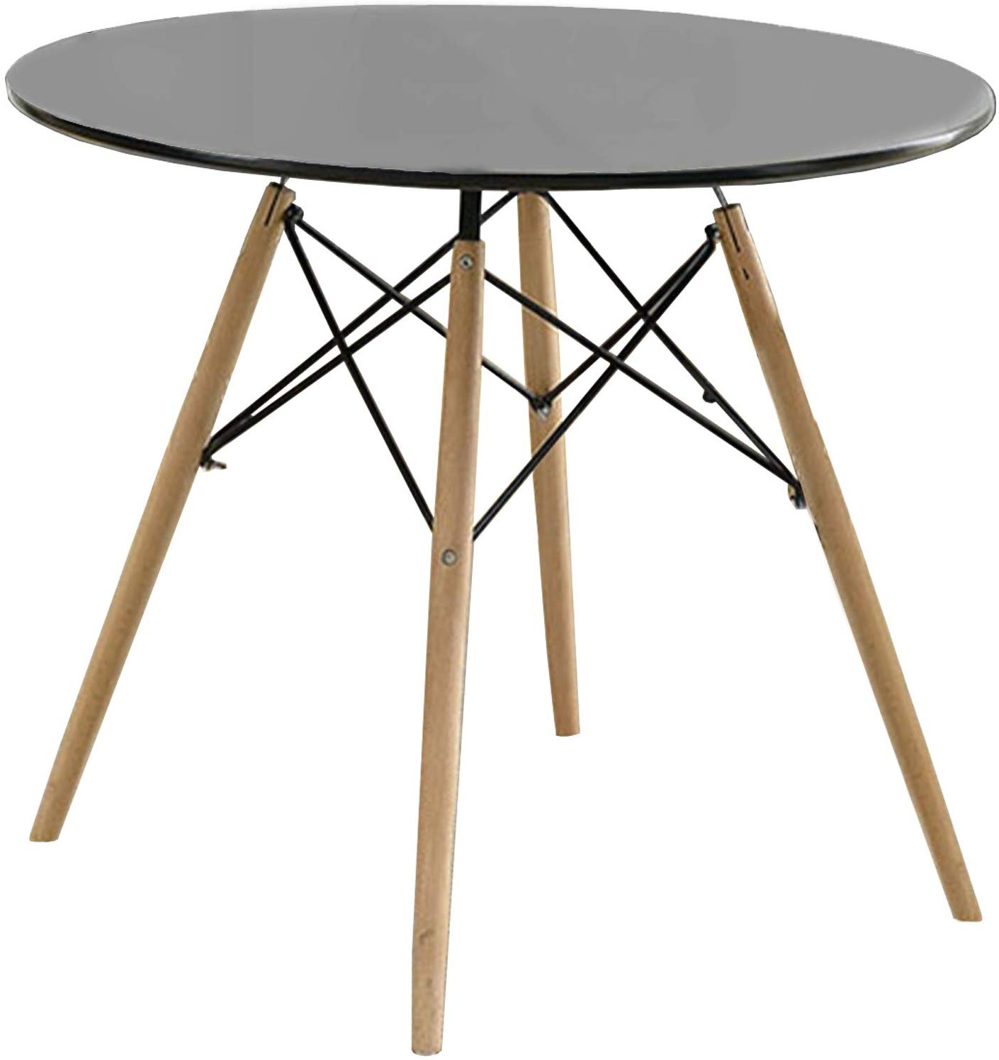Frosted Glass Modern Dining Tables With Grey Finish Metal Tapered Legs Intended For Most Recent Amazon – Benzara Round Dining Table With Metal Legs And (View 4 of 30)