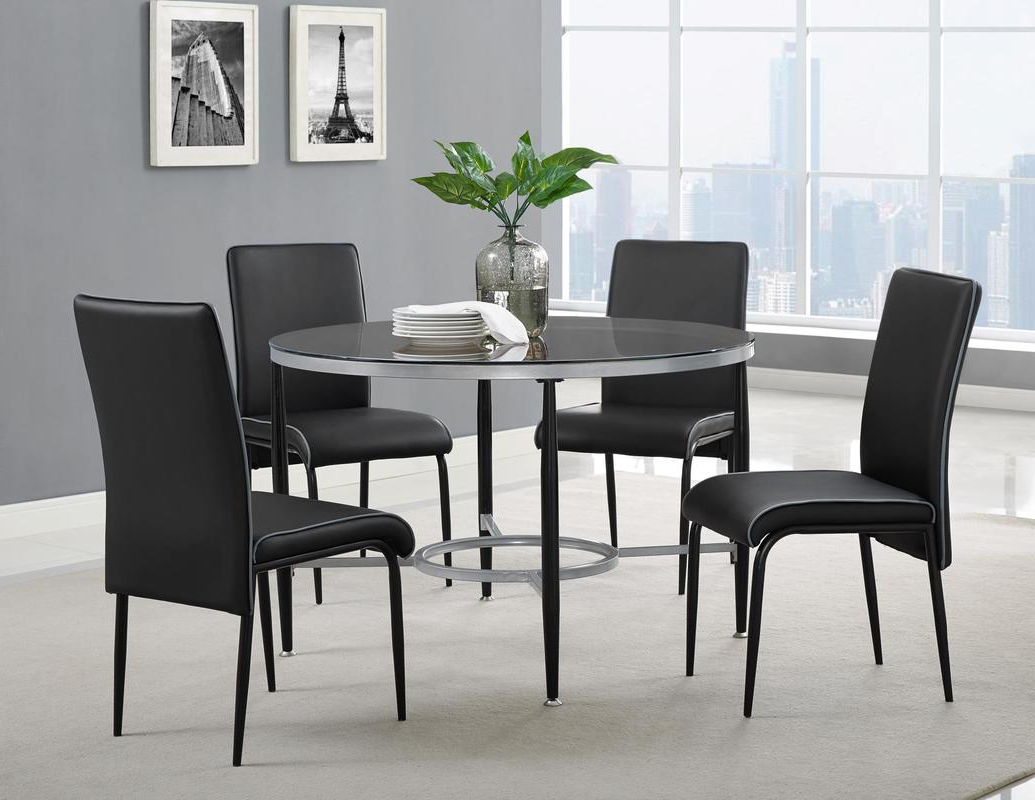 Frosted Glass Modern Dining Tables With Grey Finish Metal Tapered Legs Regarding Trendy Dinette Sets – Sm Furniture (Gallery 18 of 30)