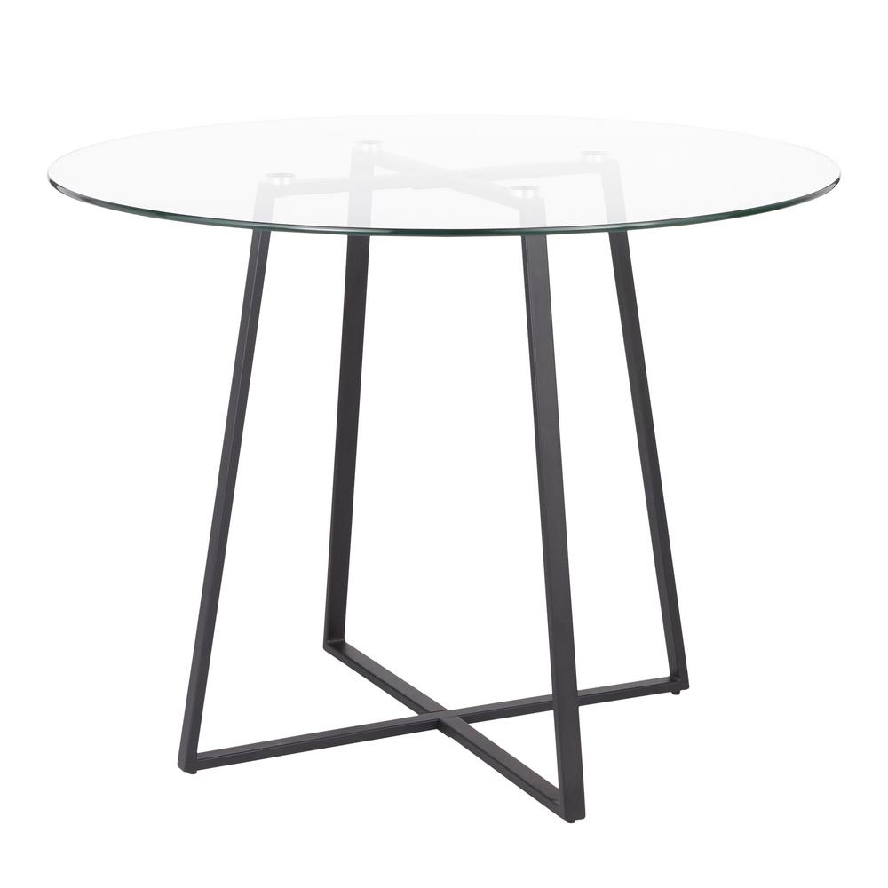 Frosted Glass Modern Dining Tables With Grey Finish Metal Tapered Legs With Regard To Latest Lumisource Cosmo Round Dining Table In Black With Clear (Gallery 19 of 30)
