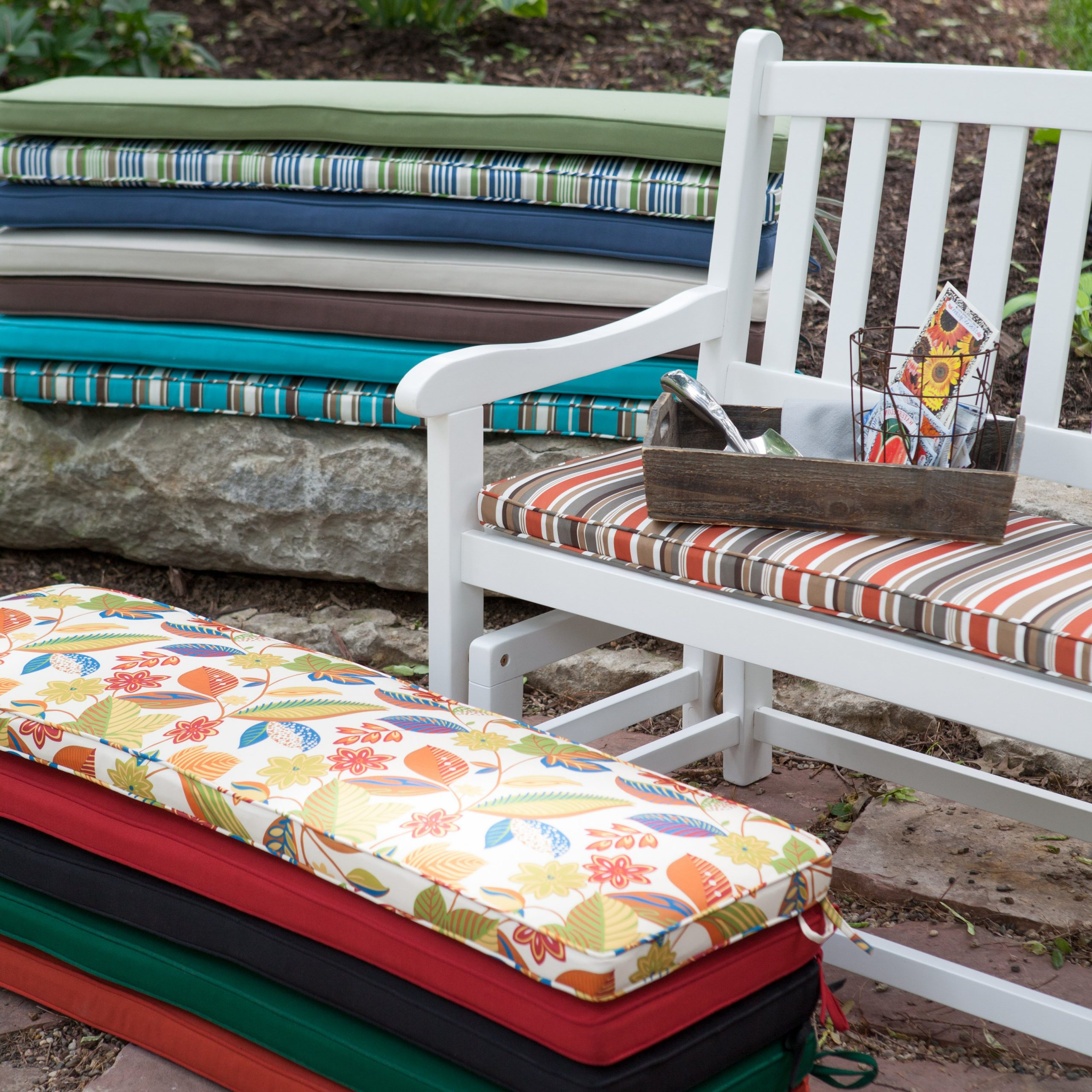 Furniture: Alluring Design Of Porch Glider For Outdoor With Famous Rocking Glider Benches With Cushions (Gallery 24 of 30)