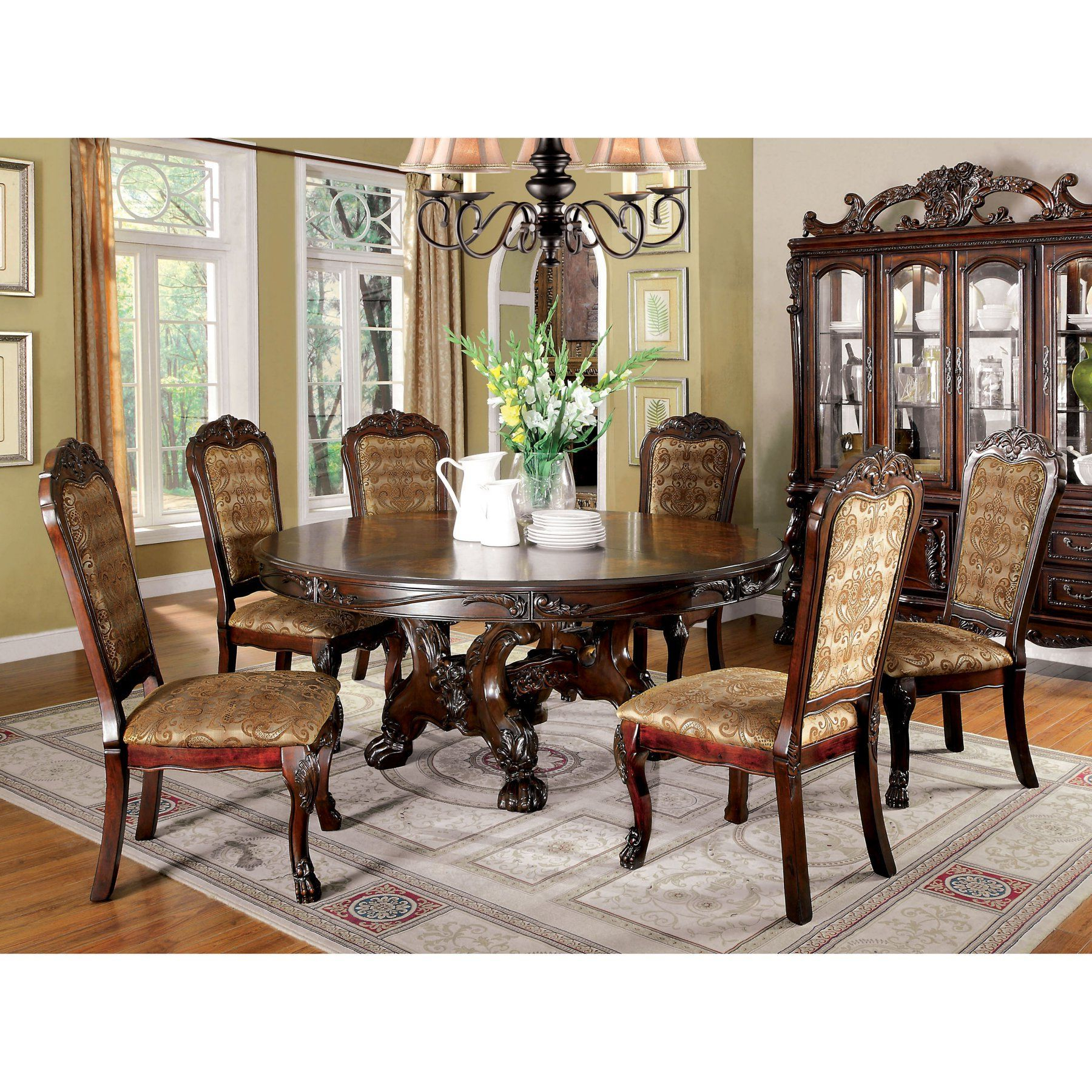 Furniture Of America Evangeline Elegant 7 Piece Round Dining Intended For Newest Elegance Large Round Dining Tables (Gallery 16 of 30)