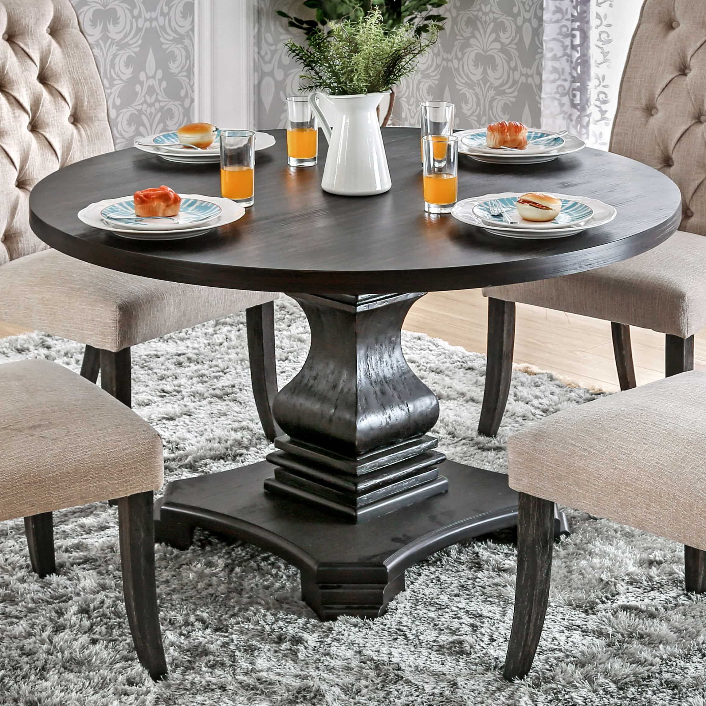 Furniture Of America Lucena Traditional Farmhouse Style Throughout Popular Antique Black Wood Kitchen Dining Tables (View 8 of 30)