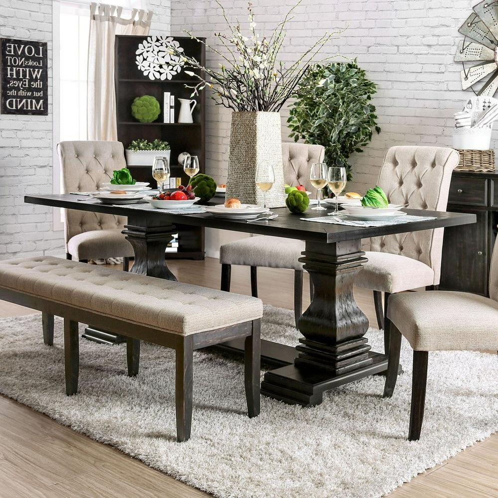 Furniture Of America Reagan Transitional Antique Black 84 Inside Current Antique Black Wood Kitchen Dining Tables (Gallery 3 of 30)