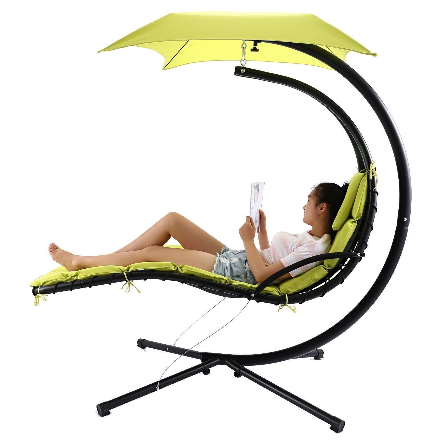 Garden Leisure Outdoor Hammock Patio Canopy Rocking Chairs Regarding Newest Amazon : Hanging Chaise Lounger Chair With Removable (View 26 of 30)