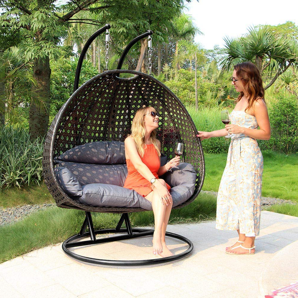 Garden Leisure Outdoor Hammock Patio Canopy Rocking Chairs Throughout 2020 Review: Luxury 2 Person Wicker Swing Chair With Stand (View 21 of 30)