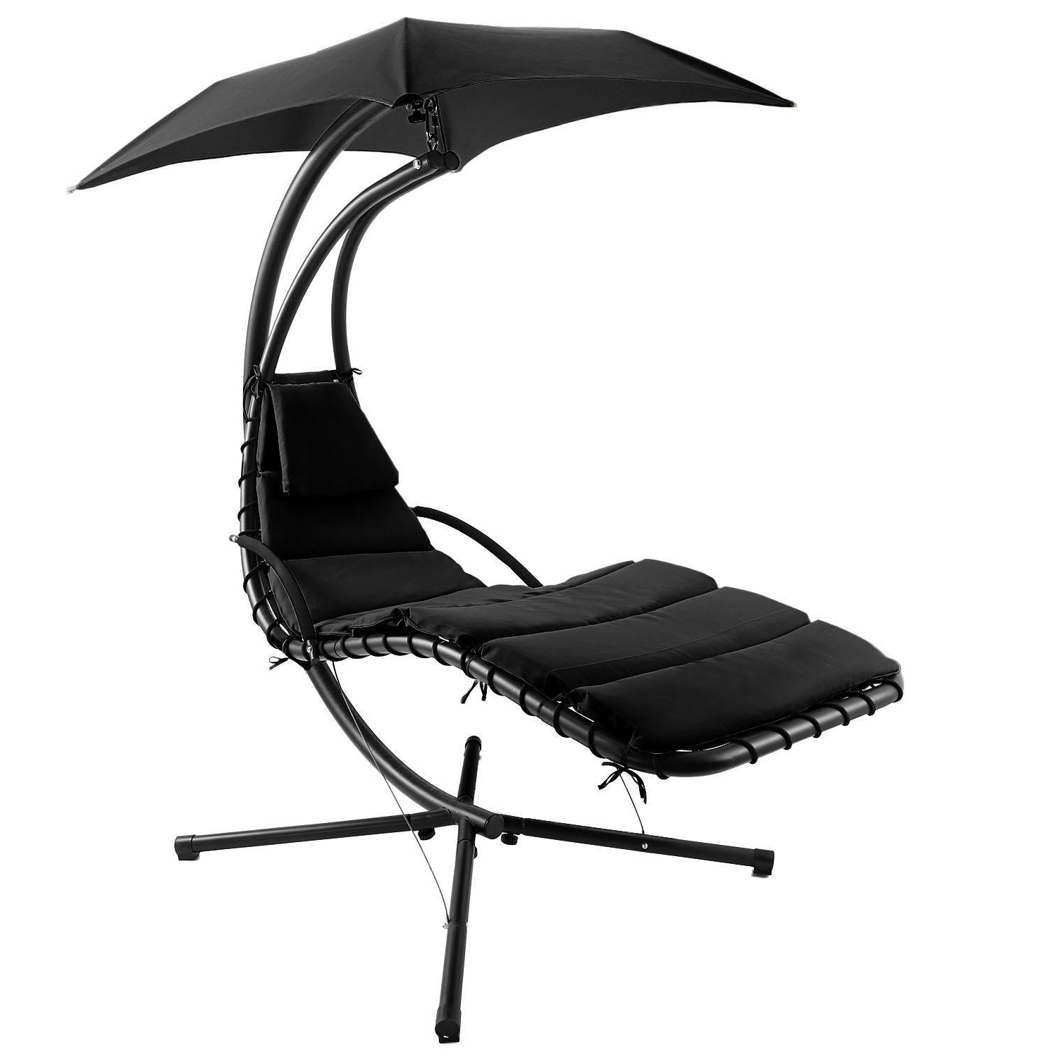 Garden Leisure Outdoor Hammock Patio Canopy Rocking Chairs With Well Liked Hindom Hanging Chaise Lounger Chair Arc Stand/air Porch Patio Swing Hammock Chair With Canopy For Yard Garden Camping Outdoor Leisure ,black (us (View 11 of 30)
