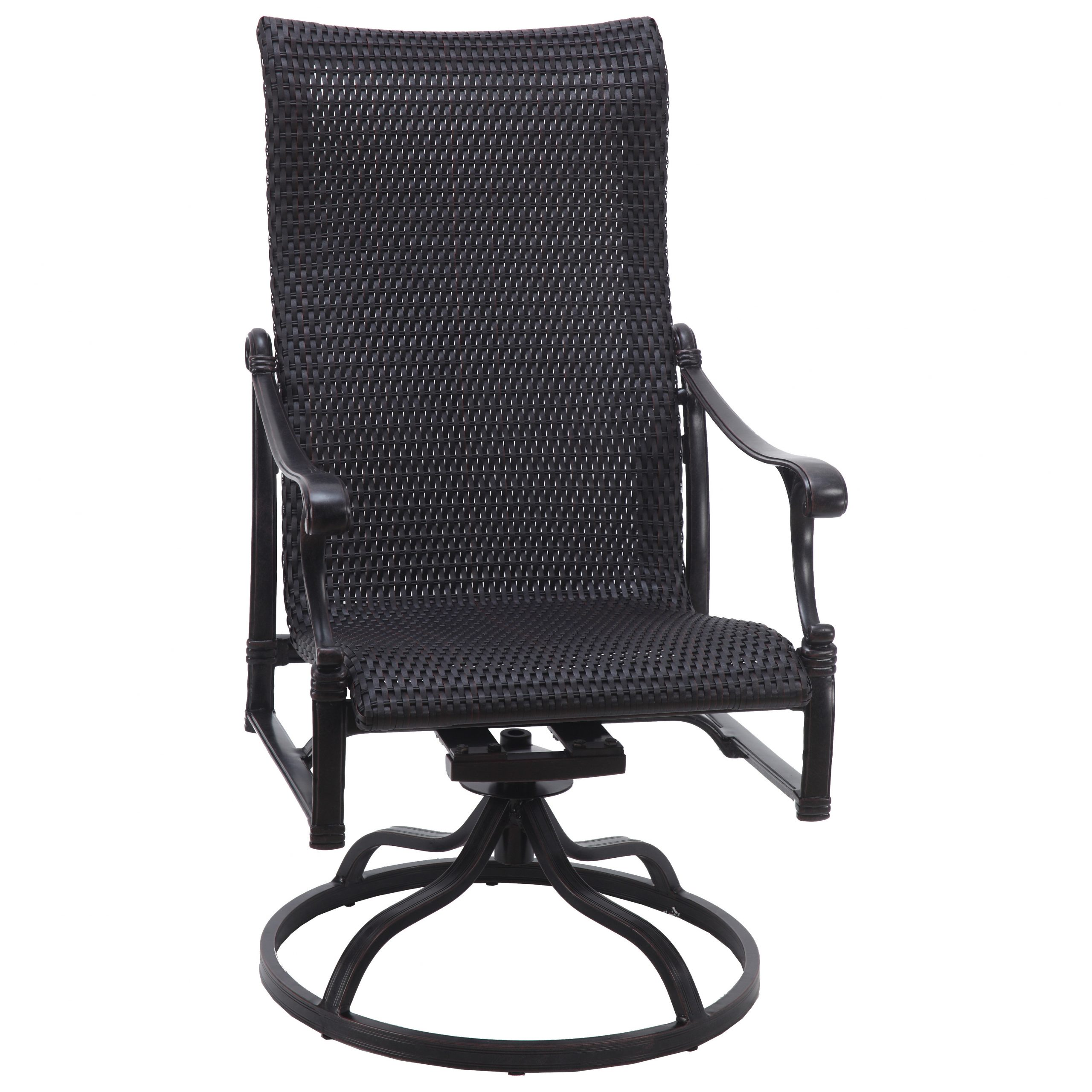 Gensun Michigan Woven Cast Aluminum High Back Swivel Rocker With Favorite Woven High Back Swivel Chairs (View 5 of 30)