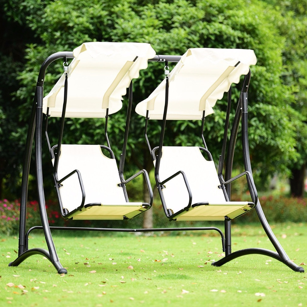Giantex 2 Person Hammock Porch Swing Patio Outdoor Hanging  Loveseat Canopy Glider Swing Outdoor Furniture Op3540 On Aliexpress Pertaining To Black Outdoor Durable Steel Frame Patio Swing Glider Bench Chairs (View 15 of 30)