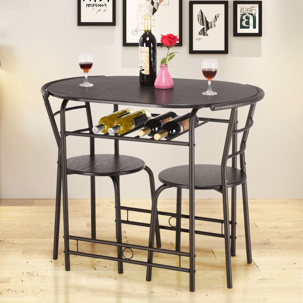 Giantex 3 Pcs Dining Set Table And 2 Chairs Home Kitchen Within Preferred 3 Pieces Dining Tables And Chair Set (View 8 of 30)