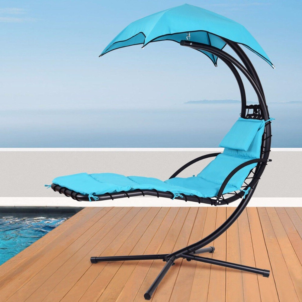 Giantex Hanging Chaise Lounger Chair Arc Stand Porch Swing Hammock Chair W/ Canopy Blue Outdoor Furniture Op3460bl On Aliexpress (View 27 of 30)